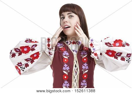 Natural Portrait of Caucasian Emotional Female Demnonstrating Positive Facial Exclamation.Against White.Horizontal Image