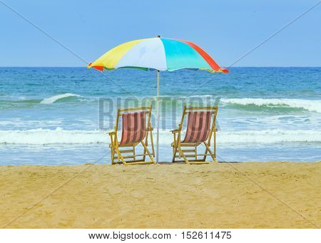 Sunny day summer scene at beach in Olon Santa Elena province Ecuador