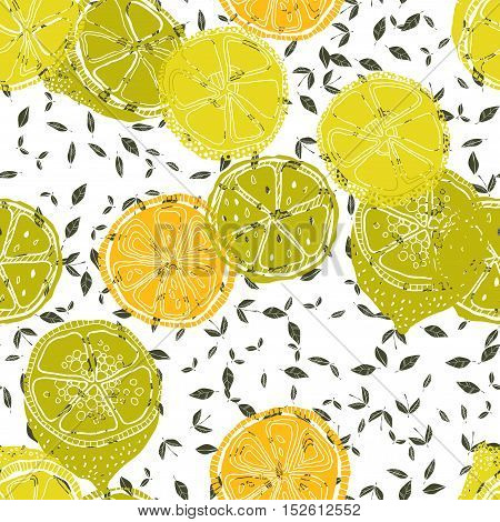 Seamless pattern with lemons, background of fruits. Vector illustration