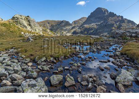 Panoramic view of Orlovets peak from Elenski lakes, Rila Mountain, Bulgaria