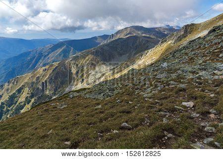 Panorama of Green hills of Rila Mountain, Bulgaria