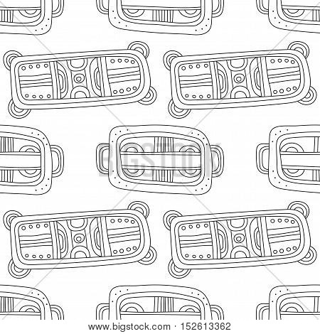 Black and white decorative seamless pattern for coloring book. Vector illustration