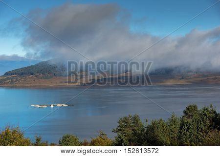 Amazing Autumn panorama of Batak Reservoir, Pazardzhik Region, Bulgaria