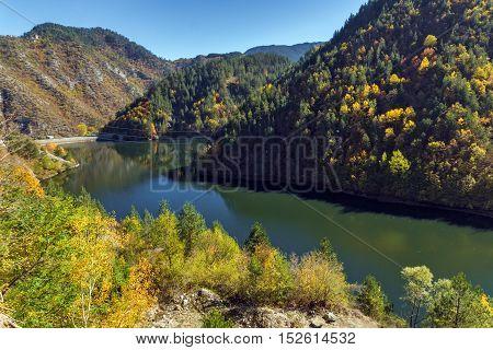 Amazing Autumn view of Teshel  Reservoir, Smolyan Region, Bulgaria