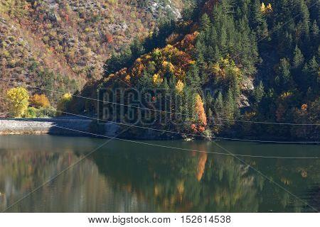 Landscape with Autumn forest around Teshel  Reservoir, Smolyan Region, Bulgaria