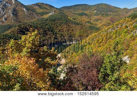 Autumn Panorama of Tsankov kamak Reservoir, Smolyan Region, Bulgaria