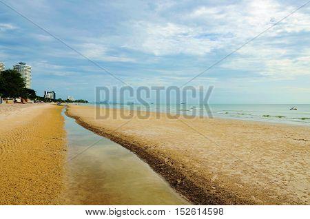 Hua Hin beach in Thailand with overcast sky