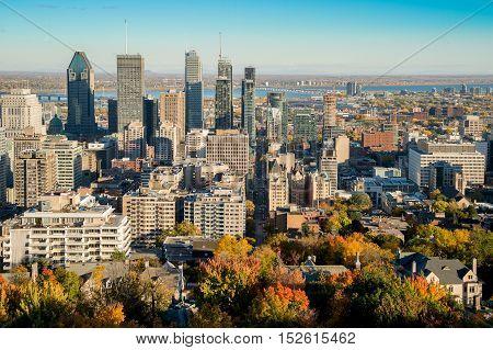 Montreal Skyline in Autumn 2016 from Kondiaronk Belvedere on Mont-Royal mountain.