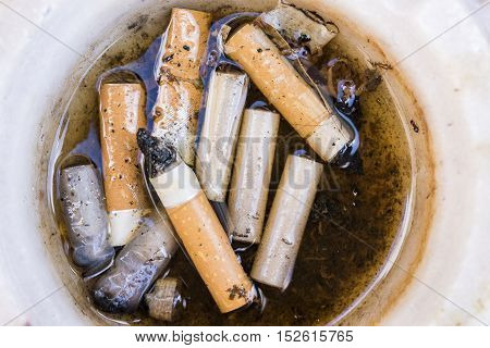 Stack of cigarettes in an ash tray with water