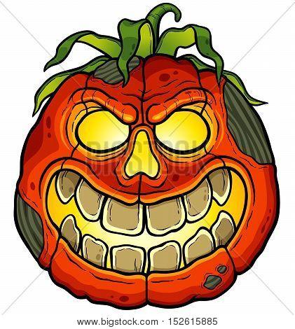 Vector illustration of Cartoon Halloween pumpkin face
