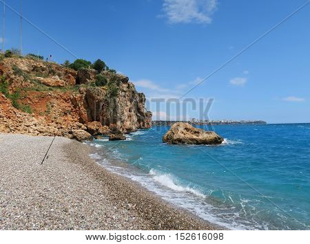 Konyaalti Beach in Antalya and the Cliffs at the East End of the Beach