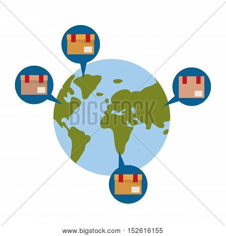 Package and planet icon. Delivery storage shipping and logistic theme. Colorful design. Vector illustration