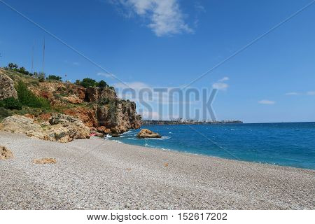 End of Konyaalti Beach in the East at the Cliffs of Antalya