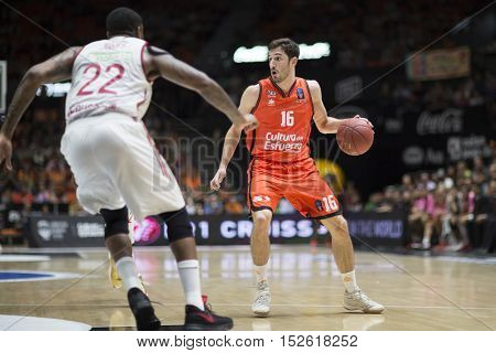 VALENCIA, SPAIN - OCTOBER 19th: Guillem Vives with ball during Eurocup match between Valencia Basket and Hapoel Bank Yahav Jerusalem at Fonteta Stadium on October 19, 2016 in Valencia, Spain