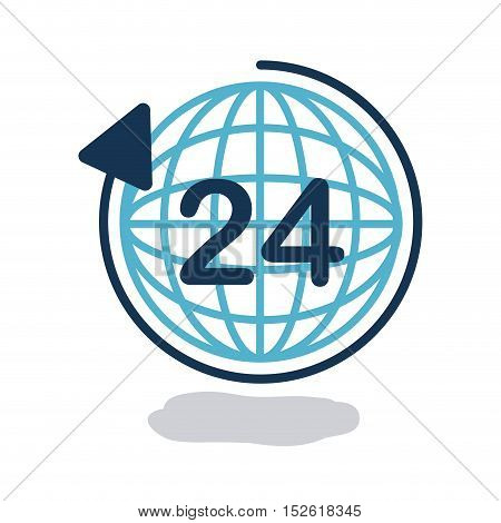 Global sphere and time icon. Delivery storage shipping and logistic theme. Colorful design. Vector illustration