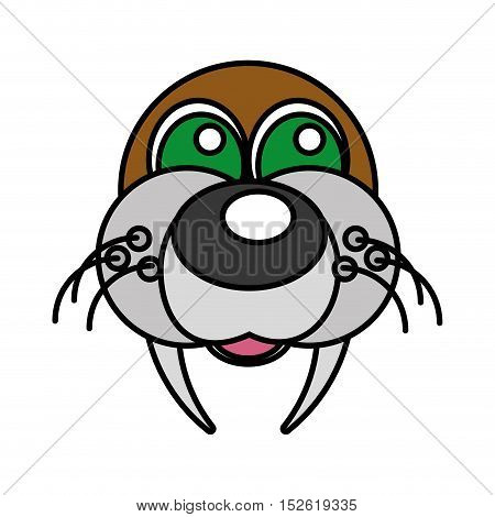 sea lion funny face isolated icon vector illustration design