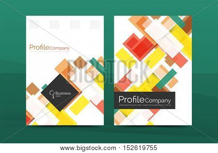 Set of modern geometric business annual report covers. Vector abstract backgrounds