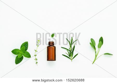 Bottle Of Essential Oil With  Fresh Herbal Sage, Rosemary, Thyme And Peppermint Setup With Flat Lay