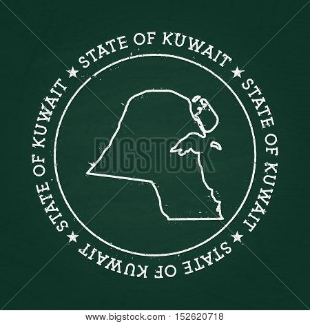 White Chalk Texture Rubber Seal With State Of Kuwait Map On A Green Blackboard. Grunge Rubber Seal W