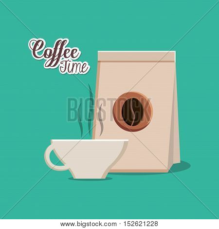 Coffee cup and bag icon. Coffee shop drink beverage and restaurant theme. Vector illustration