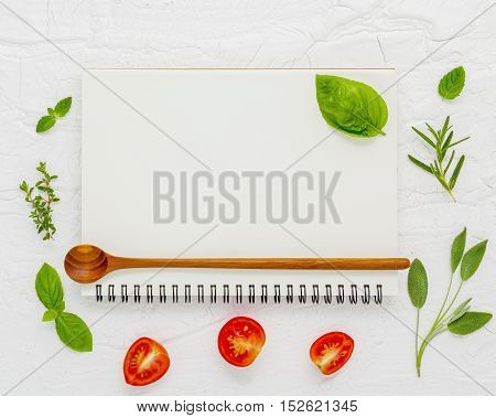Foods Background And Food Menu Design . Notebook Background For Recipes And Shopping List. Notebook