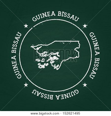 White Chalk Texture Rubber Seal With Republic Of Guinea-bissau Map On A Green Blackboard. Grunge Rub
