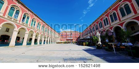 SPLIT CROATIA - SEPTEMBER 17: Panoramic view of Republic square which is a famous landmark in the old town of split where you can find restaurants and cafes on September 17 2016 in Split