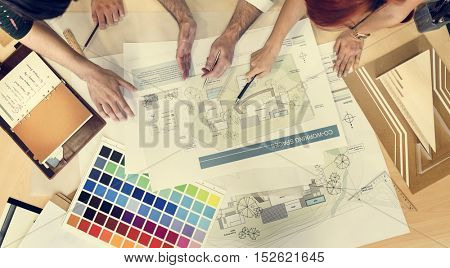 Design Studio Architect Creative Occupation Meeting Blueprint Concept