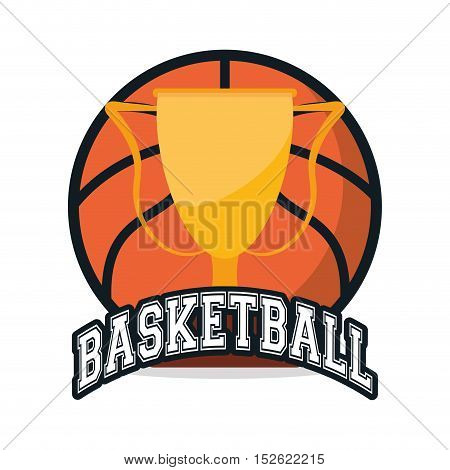 Ball and trophy icon. Basketball sport hobby and competition theme. Colorful design. Vector illustration