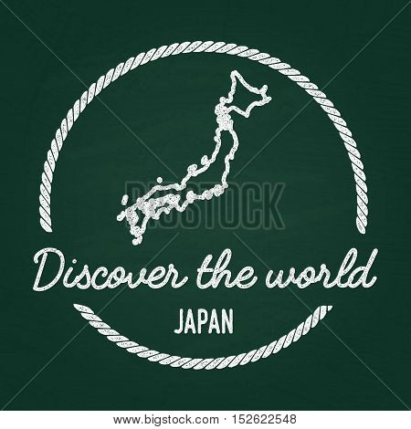 White Chalk Texture Hipster Insignia With Japan Map On A Green Blackboard. Grunge Rubber Seal With C