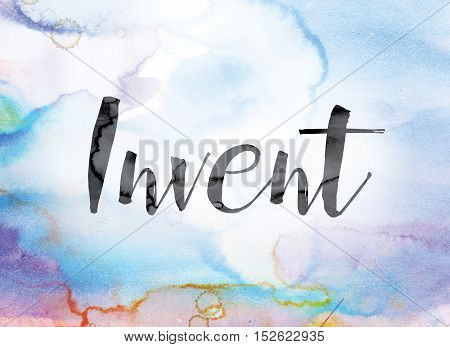Invent Colorful Watercolor And Ink Word Art
