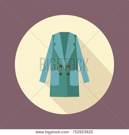 Women double-breasted coat icon. Fashionable outerwear in flat style design with long shadow. Fashion Woman long coat illustration.
