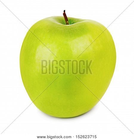 Ripe green apple isolated on white background.