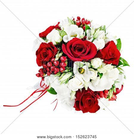 Flower wedding bouquet from white and red roses isolated on white background.