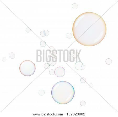 lots of soap bubbles isolated on white background
