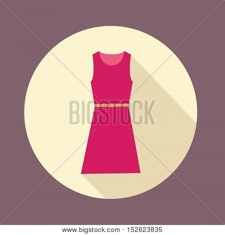 Flat modern design with shadow Icon Women red dress illustration.