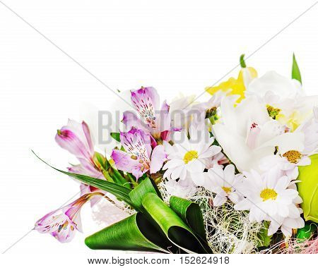 Fragment of colorful bouquet of roses, lilies and orchids arrangement centerpiece isolated on white background.