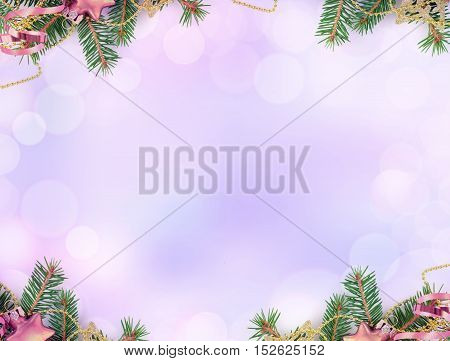 8K resolutions purple background with Christmas decoration and bokeh border