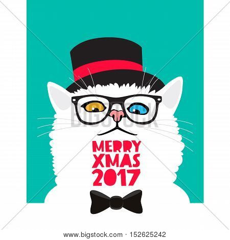 Mr. cat in a black hat. Vector illustration on a blue background. Excellent New Year's gift card. Merry Christmas 2017. The trend lettering.