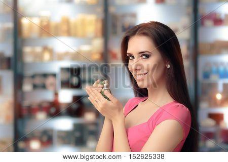 Smiling Shopping Woman Holding Retro Perfume Bottle