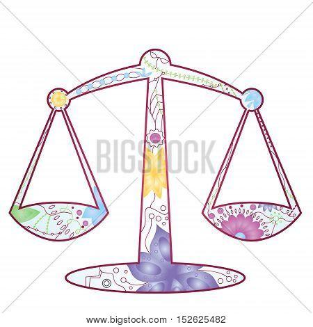 vector illustration of Libra zodiac sign gradient