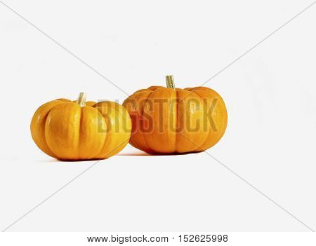 Two small orange pumpkins isolated on white
