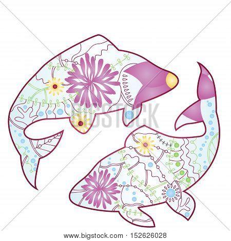vector illustration of Pisces zodiac sign gradient