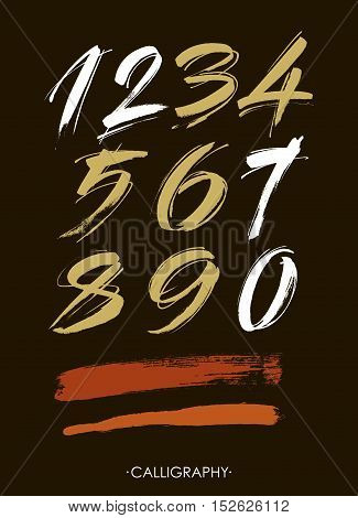vector set of calligraphic acrylic or ink numbers. ABC for your design.
