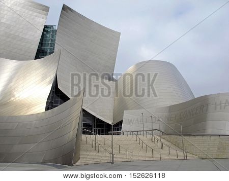 A beautiful and modern Concert Hall in downtown Los Angeles, on a cloudy sky background. Natural colors and light. Photograph taken early morning in May 2012. California, USA.