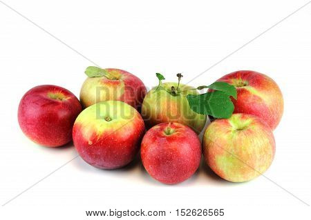close up on red apple isolated on white background