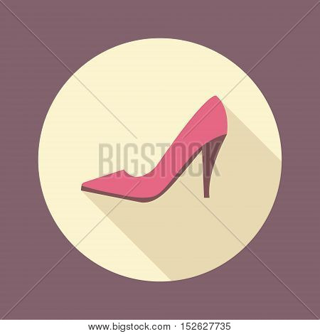 Fashion and beauty women accessories. Shopping high-heeled shoes flat icon