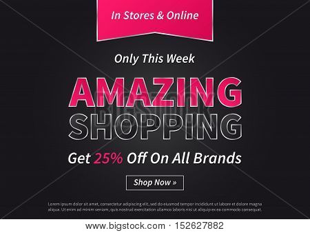 Banner Amazing Shopping vector illustration on black background. Horizontal poster Amazing Shopping creative concept for websites retail stores advertising.