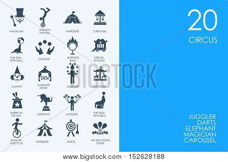 BLUE HAMSTER Library circus vector set of modern simple icons