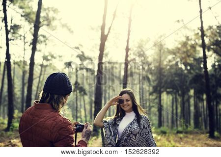 Couple Travel Adventure Happiness Talking Photo Concept